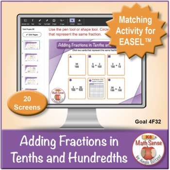 Adding Fractions in Tenths and Hundredths: 40 Math Matching Game Cards 4F