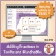 Adding Fractions in Tenths and Hundredths: 40 Math Matching Game Cards 4F32