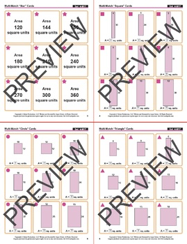 Multi-Match Game Cards 4M: Rectangles with Equal Areas {Print & Digital}