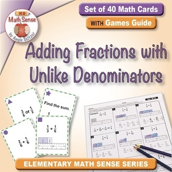 Adding Fractions with Unlike Denominators: 40 Math Matching Game Cards 5F12