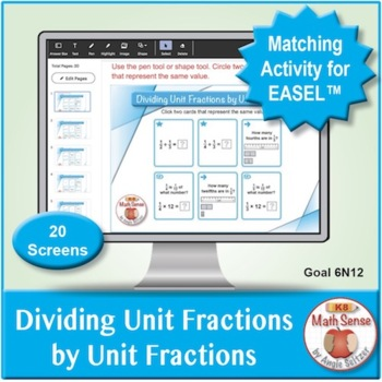 Dividing Unit Fractions by Unit Fractions: Math Matching Game Cards 6N
