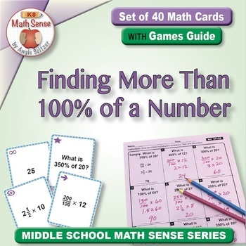 Math Matching Game Cards 6R: Finding More Than 100% of a Number