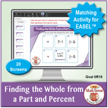 Finding the Whole from a Part and Percent: 40 Math Matching Game Cards 6R18