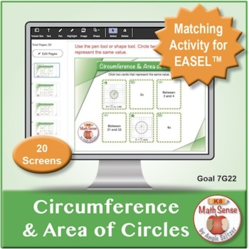 Multi-Match Game Cards 7G: Circumference & Area of Circles