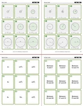 Circumference & Area of Circles: Math Matching Game Cards 7G