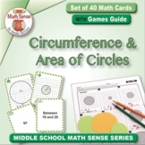 Circumference & Area of Circles: 40 Math Matching Game Cards 7G22