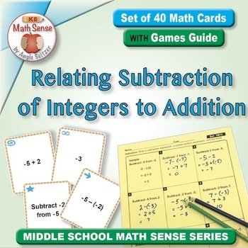 Relating Subtraction of Integers to Addition: Math Matching Game Cards 7N