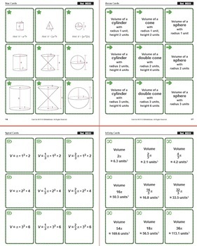 Compare Volumes of Spheres, Cones, & Cylinders: 40 Math Matching Game Cards 8G33