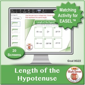 Length of the Hypotenuse: 40 Math Matching Game Cards 8G22