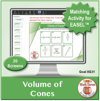 Volume of Cones: 40 Math Matching Game Cards 8G31
