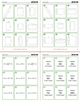 Math Matching Game Cards 8G: Volume of Cylinders