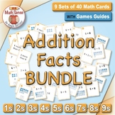 Basic Addition Facts: Math Matching Game Cards BUNDLE