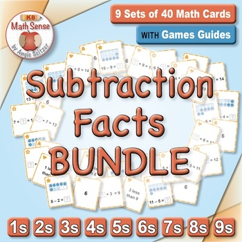 Basic Subtraction Facts: Math Matching Game Cards BUNDLE