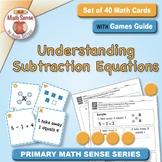 Understanding Subtraction Equations: 40 Math Matching Game Cards KA