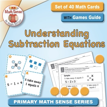 Understanding Subtraction Equations: 40 Math Matching Game Cards KA13