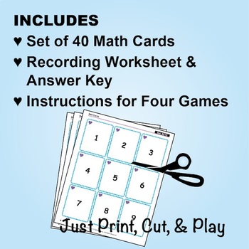 Numerals 1 to 9: 40 Math Matching Game Cards KC13