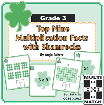 Multi-Match Game Cards: Top Nine Multiplication Facts with Shamrocks