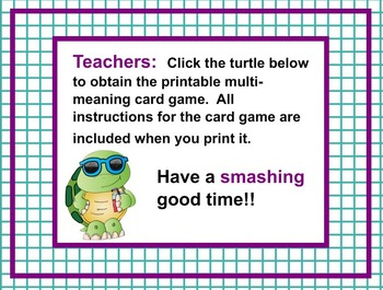 Multi Meaning Word Mini Lesson PLUS Printable Word Card Game
