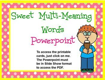 Multi meaning word treats powerpoint plus printable card set tpt multi meaning word treats powerpoint plus printable card set stopboris Gallery
