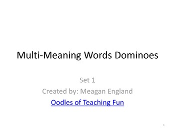 Multi-Meaning Words Dominoes- Set 1