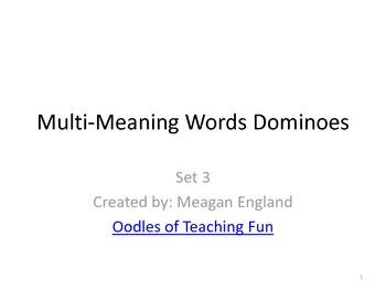 Multi-Meaning Words Dominoes- Set 3