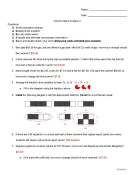 Multi-Operation Word Problems (money & fractions) v2