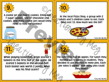 Multi-Step Word Problem Task Cards for Third and Fourth Grade