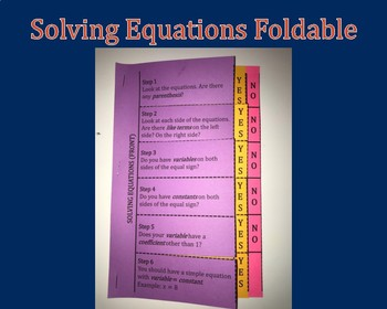 Multi-Page Foldable For Solving Equations: Filled-In and Blank Guided Notes