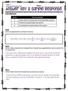 Multi-Part Extended Response - 5.NBT.3 & 5.NBT.4