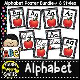 Multi Polka Dot on Black Theme Alphabet Posters