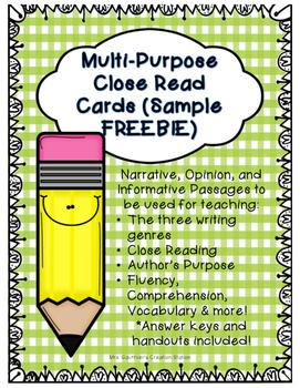Close Reading Cards - FREEBIE (Multi-Purpose Use)