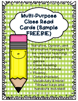 Close Reading Cards - FREEBIE (Multi-Purpose Use)
