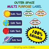 Multi Purpose Label, Editable Labels in  Outer Space Theme - 100% Editable