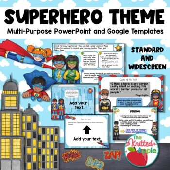 superhero theme powerpoint templates by the knitted apple tpt