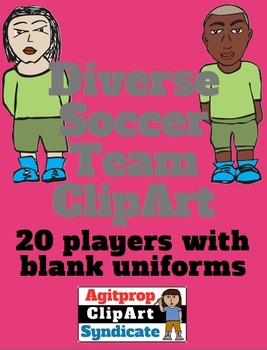 Multi-Racial Diverse Soccer Team: 20 Characters, EPS and TIFF