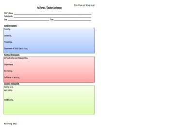 Multi-Section Parent Teacher Conference Form