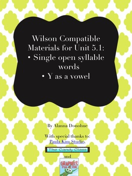 Multi-Sensory Reading Program Compatible Materials: Open syllable and y as vowel