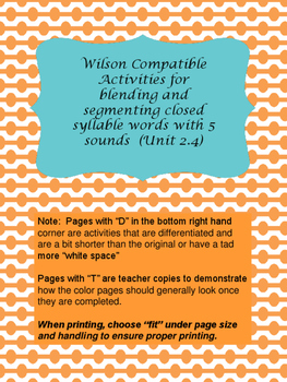 Multi-Sensory Reading System Activities for closed syllable words with 5 sounds