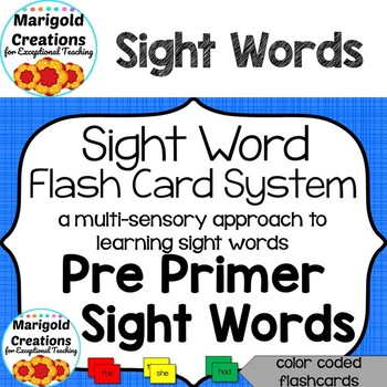 Multi-Sensory Sight Word Flash Cards: Pre Primer Sight Word List