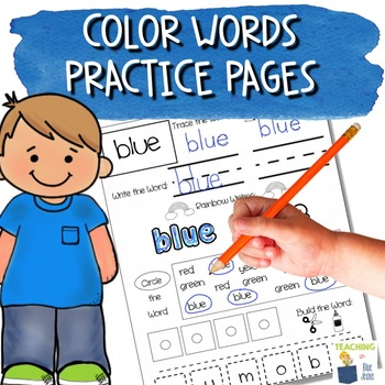 Sight Word Practice Pages - Color Words - Math and Word Work