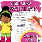 Sight Word Practice Pages Bundle   NO PREP   220 Words from  Dolch List