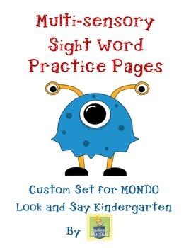 Sight Word Practice Pages for MONDO Kindergarten