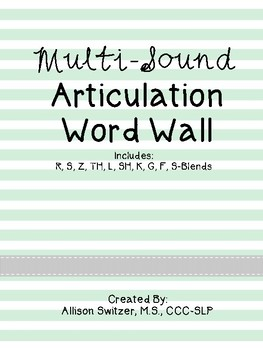 No Prep Multi-Sound Articulation Word Lists (Mint Theme)