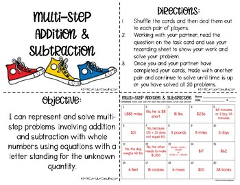 Multi Step Addition and Subtraction Word Problems | Task Cards | TEKS 5.4b