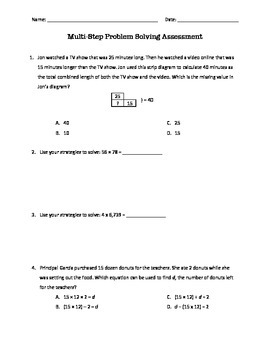 Multi-Step Addition, Subtraction, and Multiplication Assessment