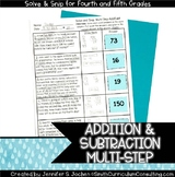 Multi Step Addition and Subtraction Problems | Solve and Snip® |  TEKS 5.4b