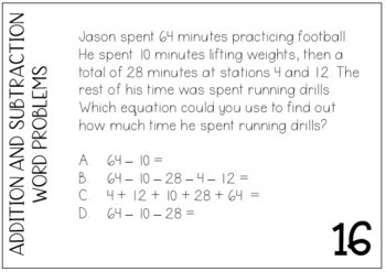 Multi-Step Addition and Subtraction Word Problem Task Cards TEKS 3.4A 3.5A