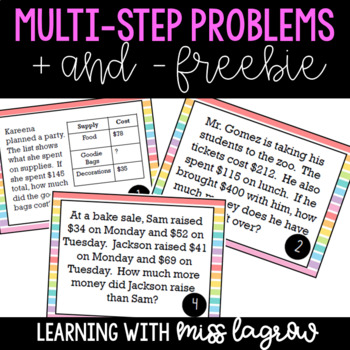 Multi-Step Addition and Subtraction Word Problems Task Cards Freebie