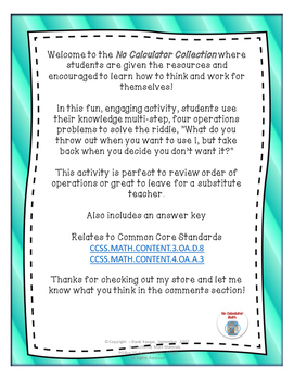 Multi-Step Arithmetic Riddle Worksheet