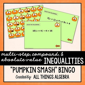 Multi-Step, Compound, and Absolute Value Inequalities Bingo